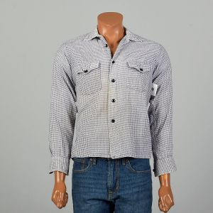 Small 1950s LL Bean Houndstooth Flannel Shirt Square Bottom Button Down