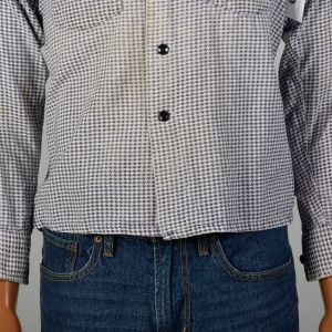 Small 1950s LL Bean Houndstooth Flannel Shirt Square Bottom Button Down - Fashionconstellate.com