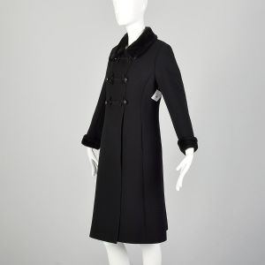 XS 1960s Mod Winter Coat Black Wool with Frog Closures and Faux Fur Trim - Fashionconstellate.com