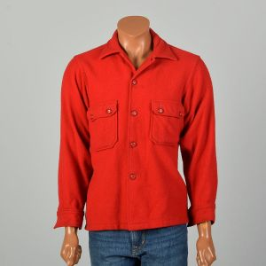 Large 1950s Shirt Boy Scouts of America Official Wool Button-Up Uniform Jacket