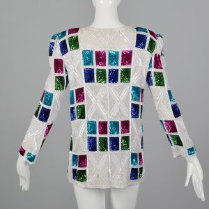 XS Deadstock 1990s Jacket Silk Sequined Colorful Beaded Long Sleeve - Fashionconstellate.com