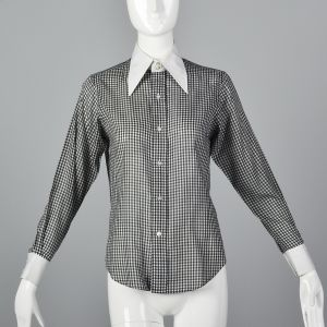 Small 1970s Black Gingham Plaid Blouse White Long Sleeve Shirt Pointed Collar
