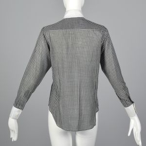 Small 1970s Black Gingham Plaid Blouse White Long Sleeve Shirt Pointed Collar - Fashionconstellate.com