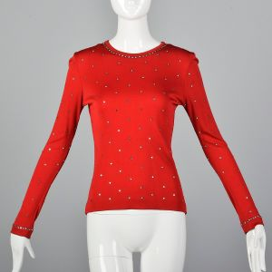 XS 1970s Red Top Long Sleeve Stretch Knit Rhinestone Shirt