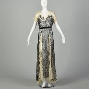 XS 1930s Panel Dress Silk Lace Black Ivory Summer Sheer Sweeping Flowing Gown - Fashionconstellate.com