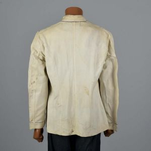 Medium Mens 1950s Chef Jacket White Standing Collar Long Sleeve Patch Pockets Halloween Costume  - Fashionconstellate.com