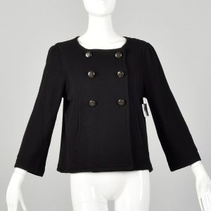 Small Marc by Marc Jacobs Black Wool Swing Jacket Double Breasted Autumn Outerwear