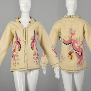 XS 1940s Souvenir Jacket Novelty Asian Dragon Chain Stitch Embroidery Cream Wool