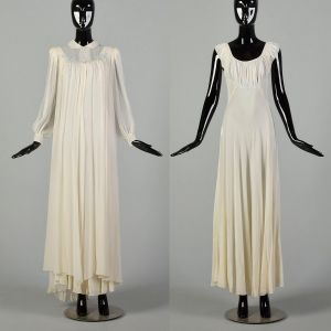 1930s Small 2 Piece Bridal PeignoirSet Old Hollywood Nightgown Silk