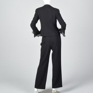 XS Escada Couture Black Wool Crepe Pant Suit Silk Chiffon Blazer Jacket Flare Pant Leg - Fashionconstellate.com