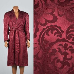 OSFM 1950s Deadstock Mens Robe Burgundy Rayon Brocade Shawl Collar Smoking Jacket