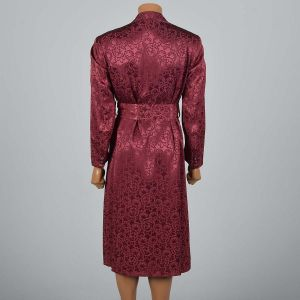 OSFM 1950s Deadstock Mens Robe Burgundy Rayon Brocade Shawl Collar Smoking Jacket  - Fashionconstellate.com