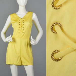 Large 1970s Yellow Romper Lace Front Silky Playsuit
