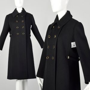 Small 1960s Mod Winter Coat Black Wool Overcoat Double Breasted Outerwear