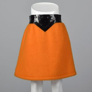 Iconic 1960s Pierre Cardin Space Age Mod Orange Mohair Mini Skirt Wide Black Vinyl Waistband