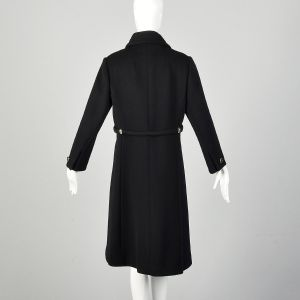 Small 1960s Mod Winter Coat Black Wool Overcoat Double Breasted Outerwear  - Fashionconstellate.com