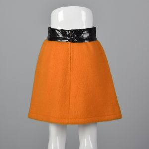 Iconic 1960s Pierre Cardin Space Age Mod Orange Mohair Mini Skirt Wide Black Vinyl Waistband - Fashionconstellate.com