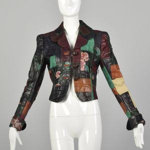XXS 1970s Gandalf Patchwork Leather Jacket Boho Rock and Roll Outerwear