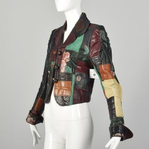 XXS 1970s Gandalf Patchwork Leather Jacket Boho Rock and Roll Outerwear  - Fashionconstellate.com