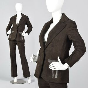 Small 1970s Brown Suede Leather Suit Blazer Jacket Hight Waisted Pants