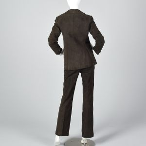 Small 1970s Brown Suede Leather Suit Blazer Jacket Hight Waisted Pants  - Fashionconstellate.com