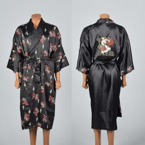OSFM Mens 1990s Black Reversible Robe Lightweight Loungewear Chinese Dragon Sleepwear
