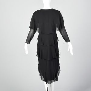XS 1980s Holly's Harp Black Sheer Silk Layer Dress Long Sleeves - Fashionconstellate.com