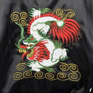 OSFM Mens 1990s Black Reversible Robe Lightweight Loungewear Chinese Dragon Sleepwear - Fashionconstellate.com