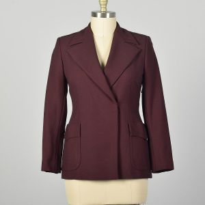 Medium Gucci Blazer Solid Burgundy Clean Minimalist Designer Jacket Belted Back