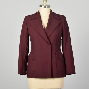 Medium Gucci Blazer Jacket Minimalist Burgundy Patch Pockets Wide Lapels