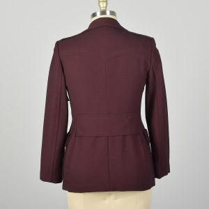 Medium Gucci Blazer Solid Burgundy Clean Minimalist Designer Jacket Belted Back - Fashionconstellate.com