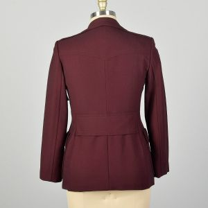 Medium Gucci Blazer Jacket Minimalist Burgundy Patch Pockets Wide Lapels - Fashionconstellate.com