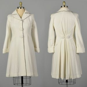 Medium 1960s White Knit Princess Coat with Huge Buttons Autumn Outerwear
