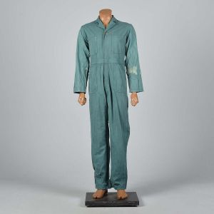 Small 1940s Mens Green Herringbone Coveralls Belt Waist Talon Zip Workwear Long Sleeves Jumpsuit  - Fashionconstellate.com