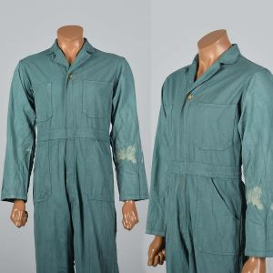 Small 1940s Mens Green Herringbone Coveralls Belt Waist Talon Zip Workwear Long Sleeves Jumpsuit