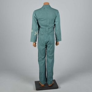 Small 1940s Mens Green Herringbone Coveralls Belt Waist Talon Zip Workwear Jumpsuit  - Fashionconstellate.com