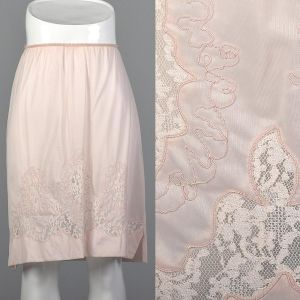 Small 1950s Pink Half Slip Lace Soutache Detail Pastel Nylon Lingerie Loungewear Sleep