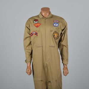 Medium 1970s Mens Flight Suit Cotton Jumpsuit Coveralls Workwear Military Uniform Jumpsuit