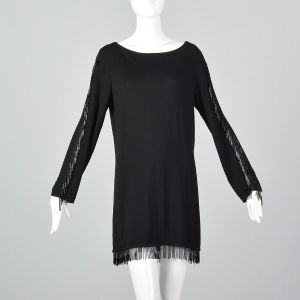 Medium 1990s Valentino Studio Black Knit Tunic Beaded Fringe Trim Wool Top