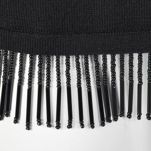 Medium 1990s Valentino Studio Black Knit Tunic Beaded Fringe Trim Wool Top - Fashionconstellate.com