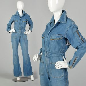 Small 1970s Denim Utility Jumpsuit Bell Bottoms Front Zip Long Sleeve