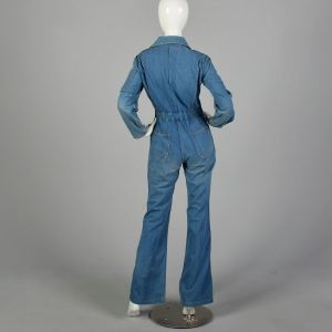 Small 1970s Denim Utility Jumpsuit Bell Bottoms Front Zip Long Sleeve - Fashionconstellate.com