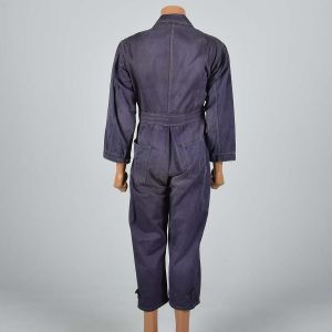 38R Small 1940s Mens Coveralls Purple Cotton Twill Pleated Action Back Jumpsuit  - Fashionconstellate.com