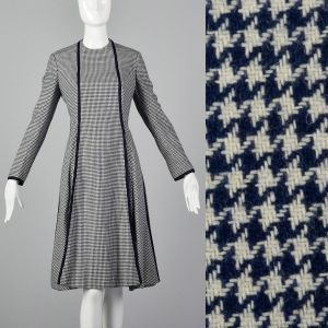 Medium Geoffrey Beene Dress 1970s Navy Wool Houndstooth Winter Long Sleeve