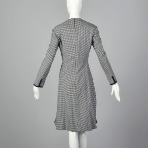 Medium Geoffrey Beene Dress 1970s Navy Wool Houndstooth Winter Long Sleeve - Fashionconstellate.com