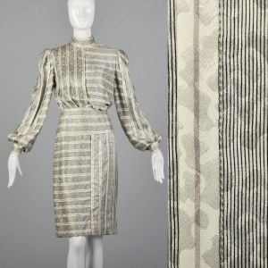 Small 1970s Galanos Dress Black and White Striped Silk Gray Abstract Print Long Bishop Sleeves