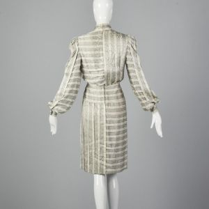 Small 1970s Galanos Dress Black and White Striped Silk Gray Abstract Print Long Bishop Sleeves  - Fashionconstellate.com
