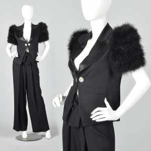 Medium 1990s Sonia Rykiel Formal Tuxedo Pant Suit Marabou Feather Sleeves