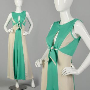 Small 1970s Palazzo Jumpsuit Keyhole Bust Color Block Wide Leg