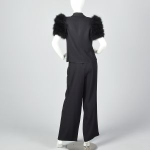 Medium 1990s Sonia Rykiel Formal Tuxedo Pant Suit Marabou Feather Sleeves  - Fashionconstellate.com